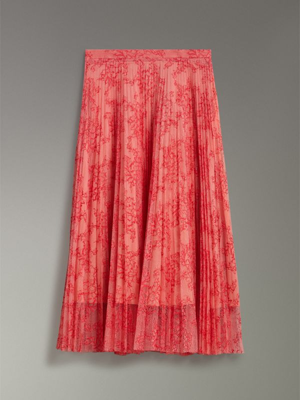 Pleated Lace Skirt in Pale Apricot/coral - Women | Burberry United Kingdom - cell image 2