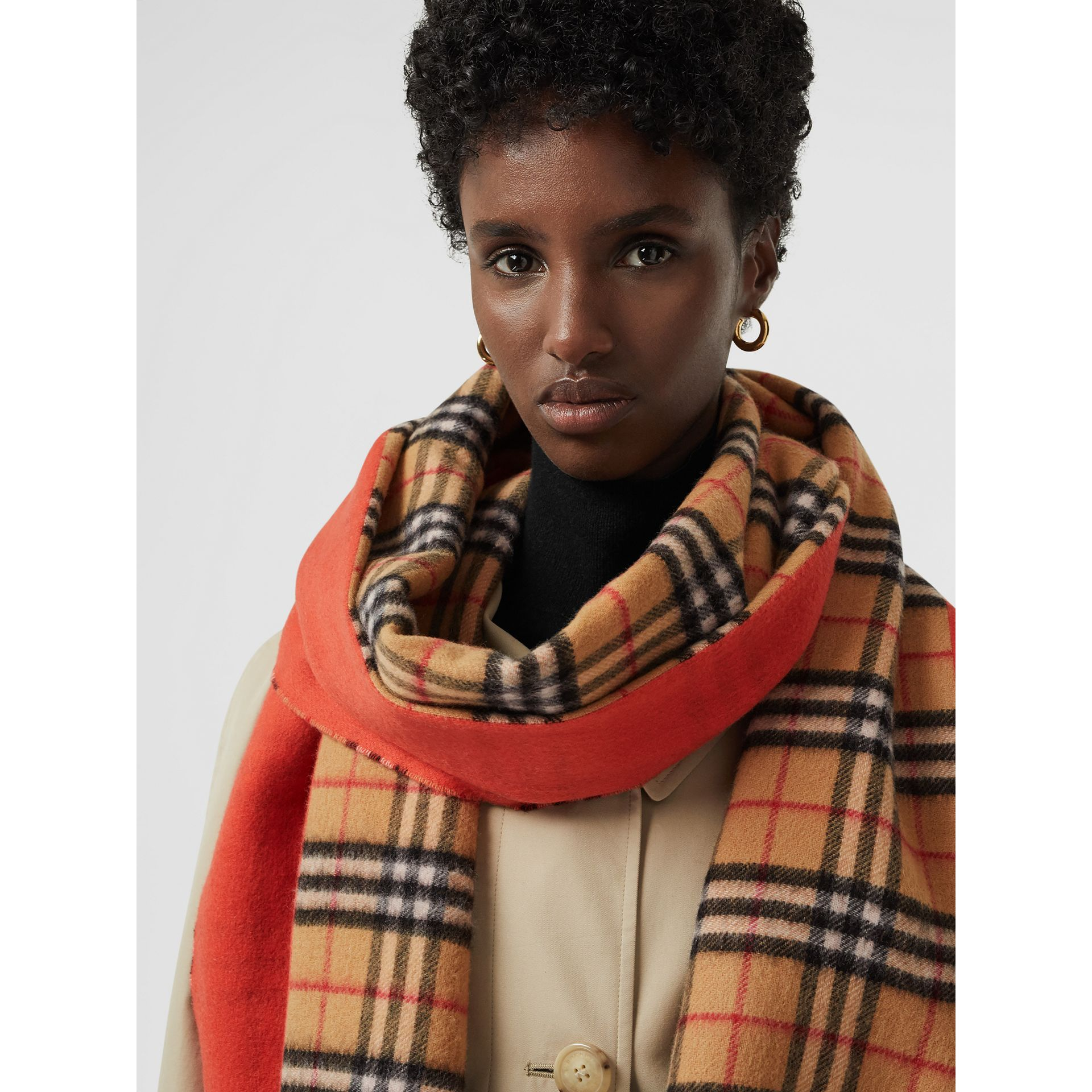Colour Block Vintage Check Cashmere Scarf in Vibrant Orange | Burberry - gallery image 5