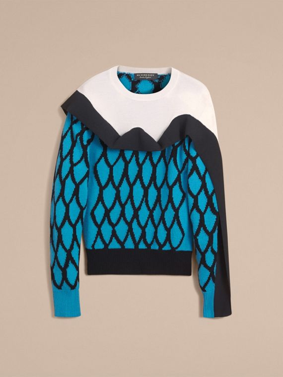 Ruffle Detail Cashmere Intarsia Sweater in Bright Cyan Blue - Men | Burberry - cell image 3