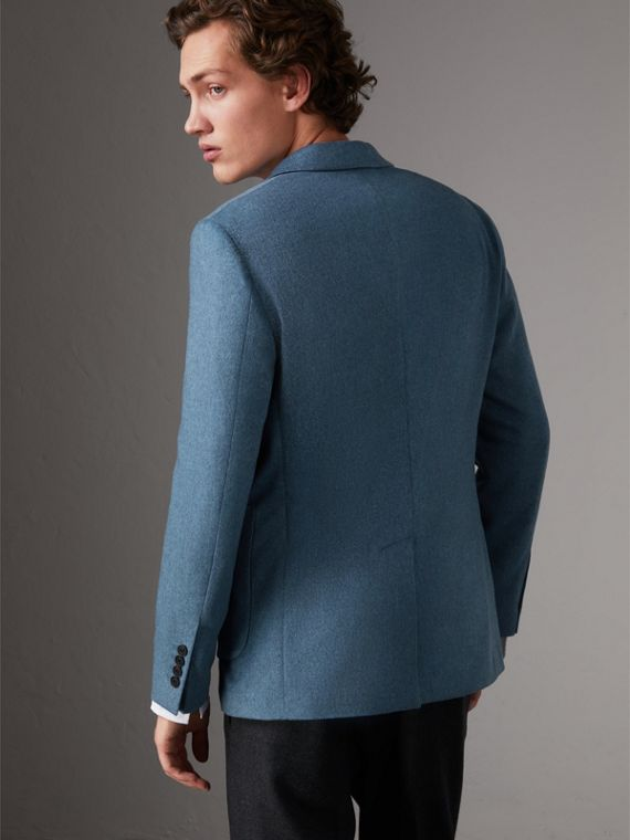 Soho Fit Lightweight Cashmere Tailored Jacket in Slate Blue Melange - Men | Burberry United Kingdom - cell image 2