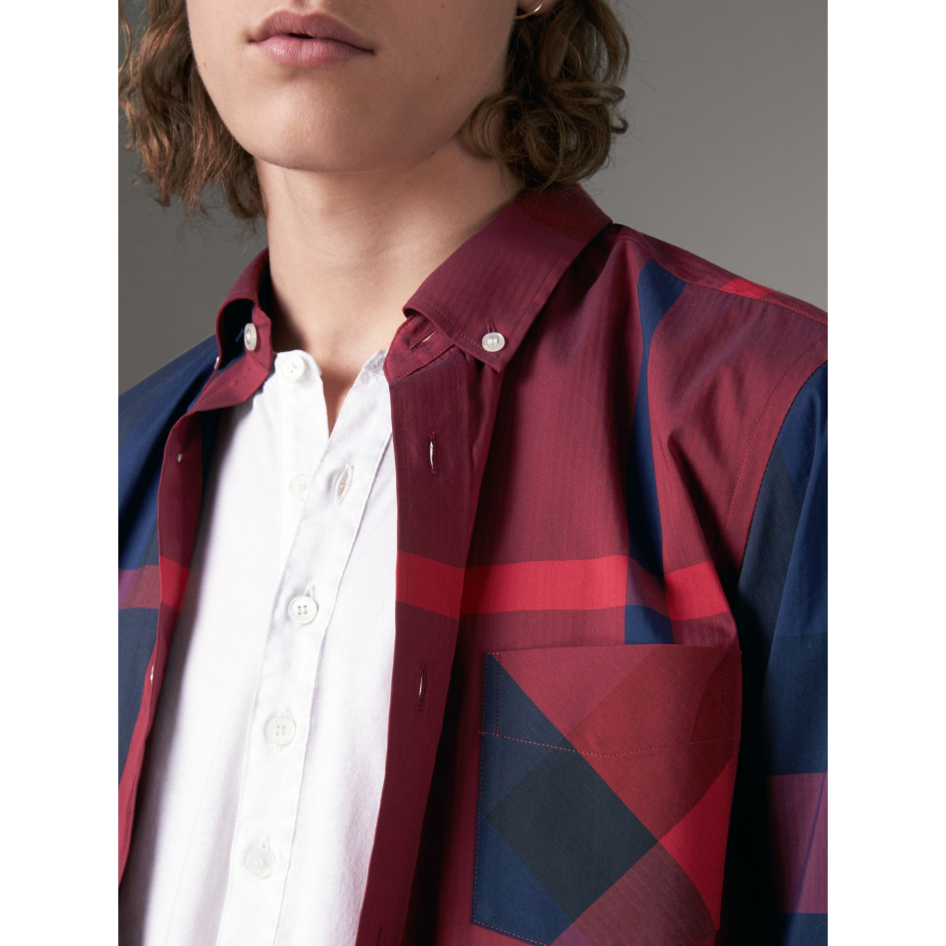 Button-down Collar Check Stretch Cotton Blend Shirt in Bright Red - Men | Burberry United Kingdom - gallery image 2