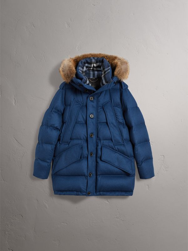 Detachable Fur Trim Cashmere Down-filled Parka in Teal Blue Melange - Men | Burberry - cell image 3