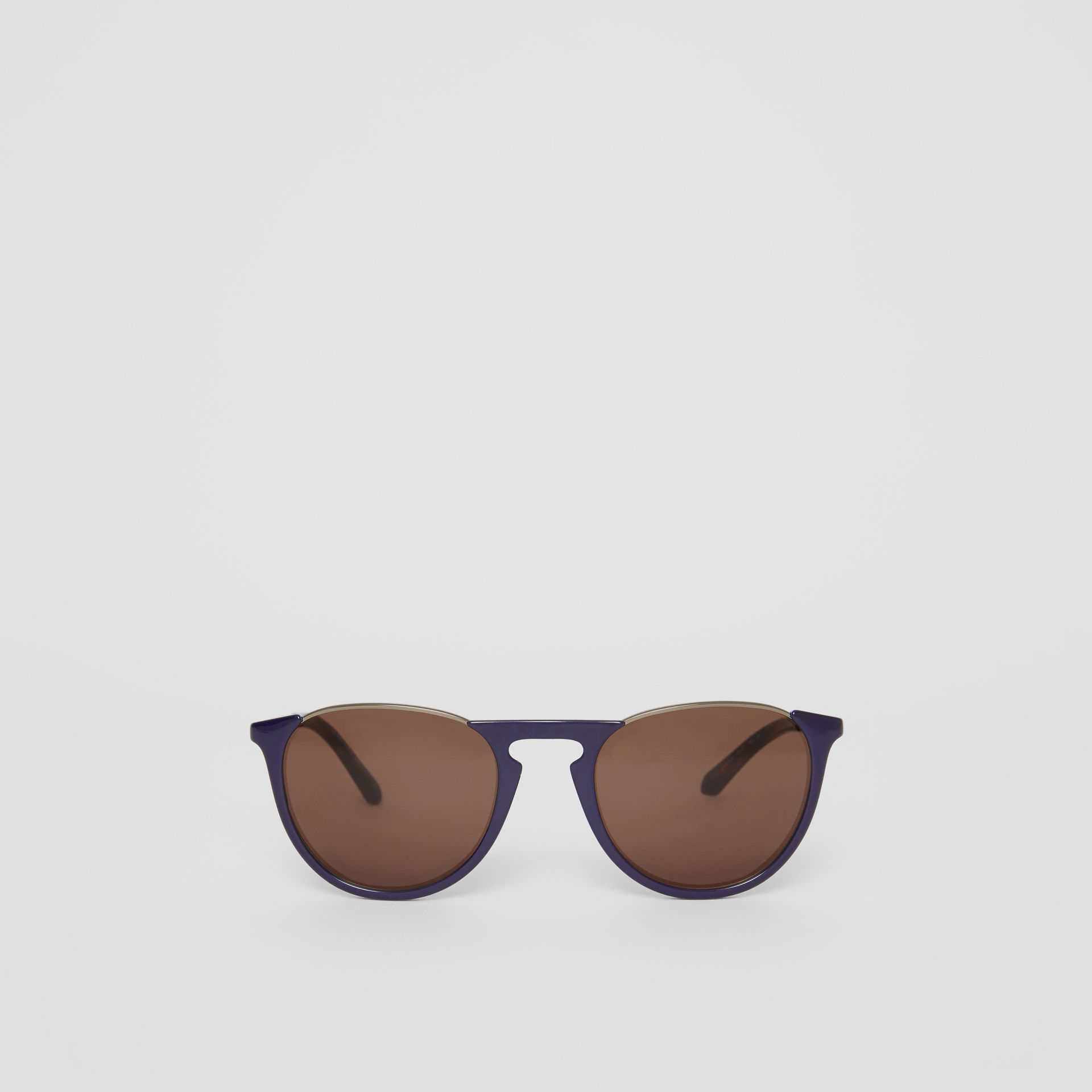 Keyhole Pilot Round Frame Sunglasses in Blue - Men | Burberry United States - gallery image 0