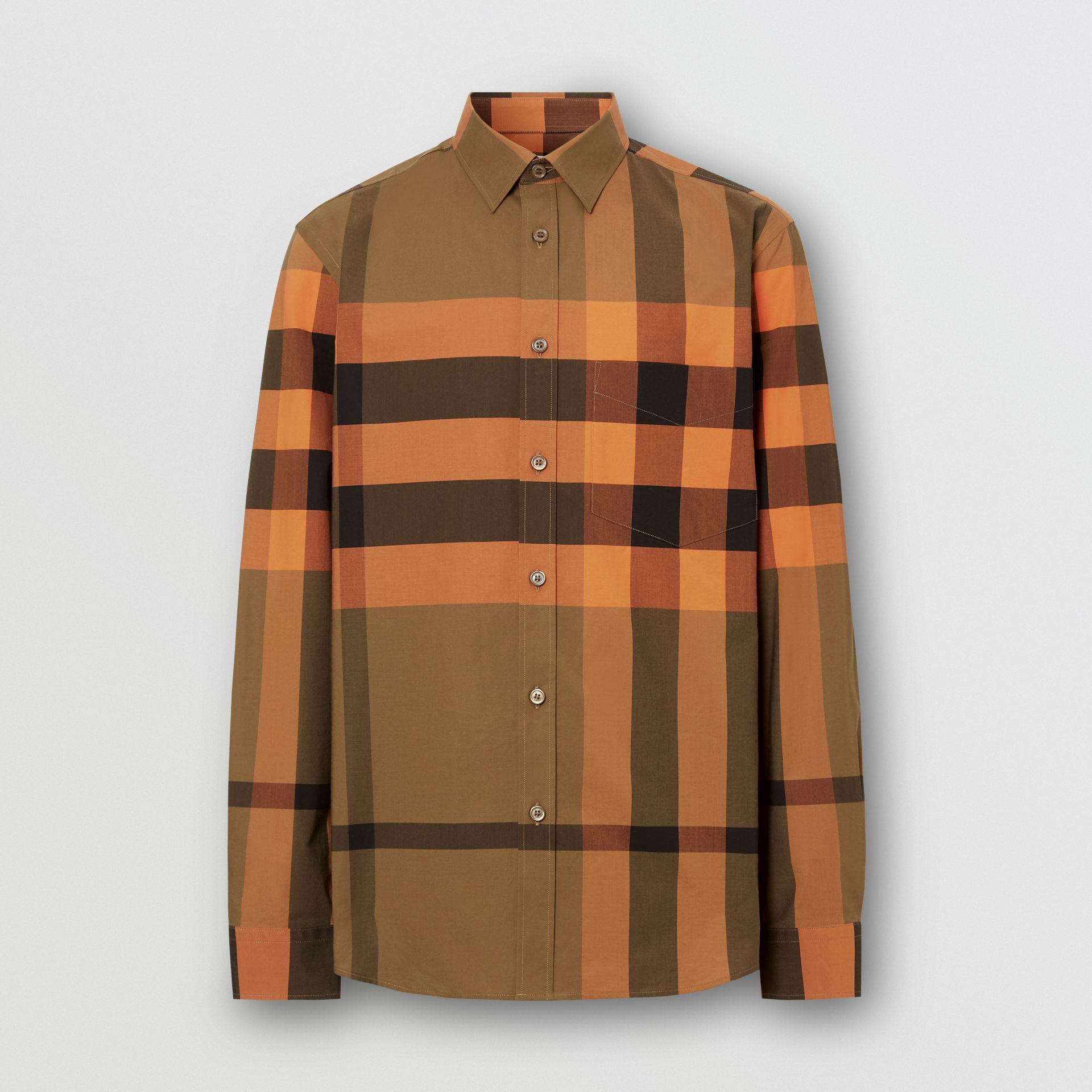 Check Stretch Cotton Poplin Shirt in Bright Orange - Men | Burberry - gallery image 3
