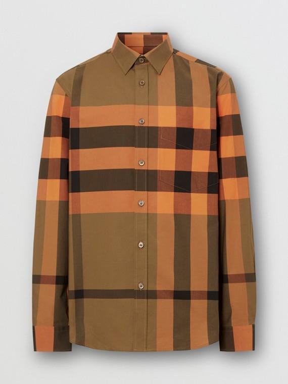 Check Stretch Cotton Poplin Shirt in Bright Orange