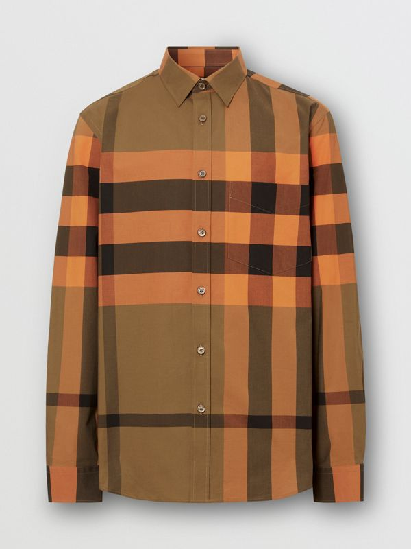 Check Stretch Cotton Poplin Shirt in Bright Orange - Men | Burberry - cell image 3