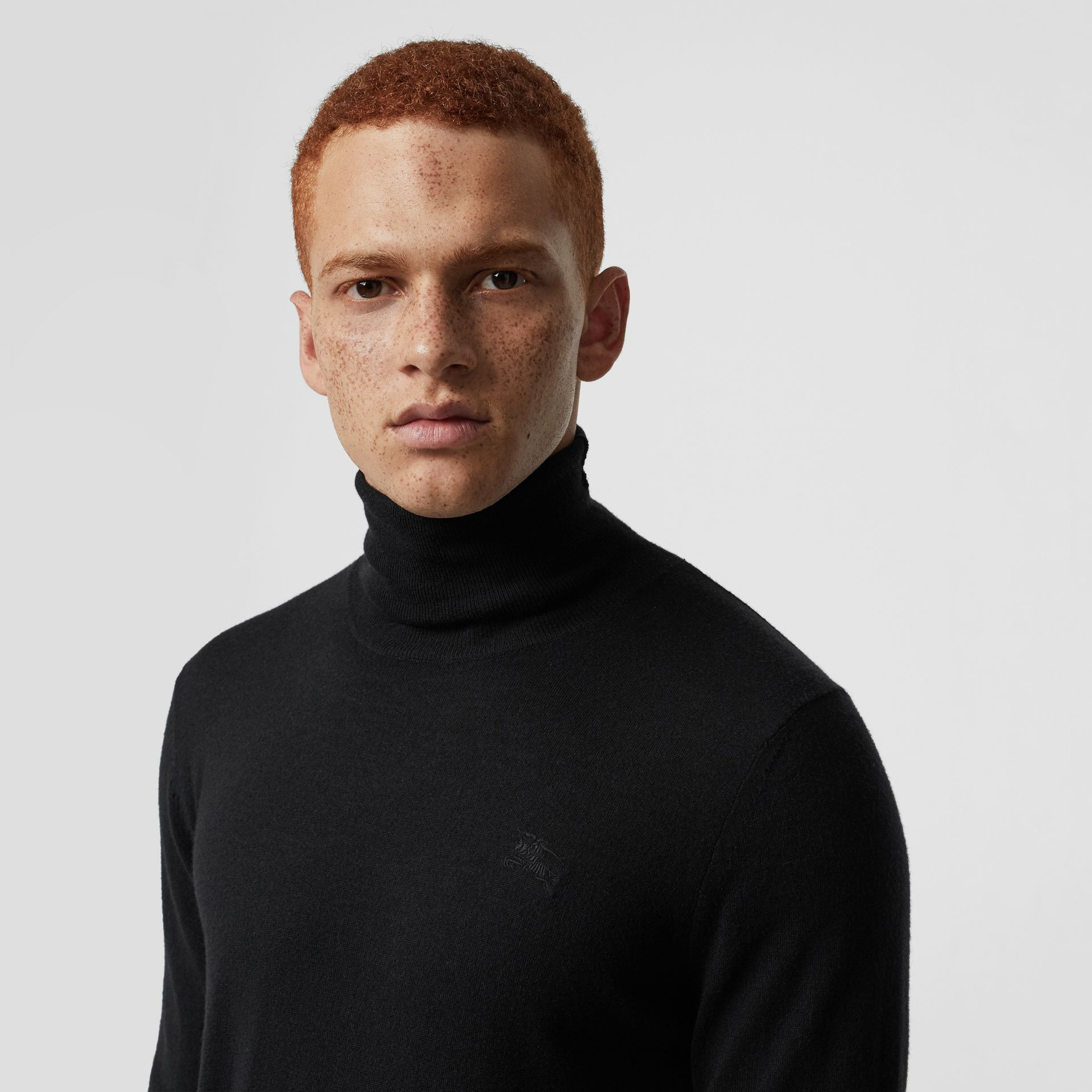Cashmere Silk Roll-neck Sweater in Black - Men | Burberry - gallery image 1