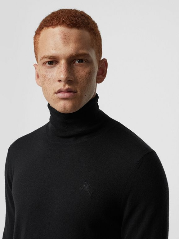 Cashmere Silk Roll-neck Sweater in Black - Men | Burberry United States - cell image 1