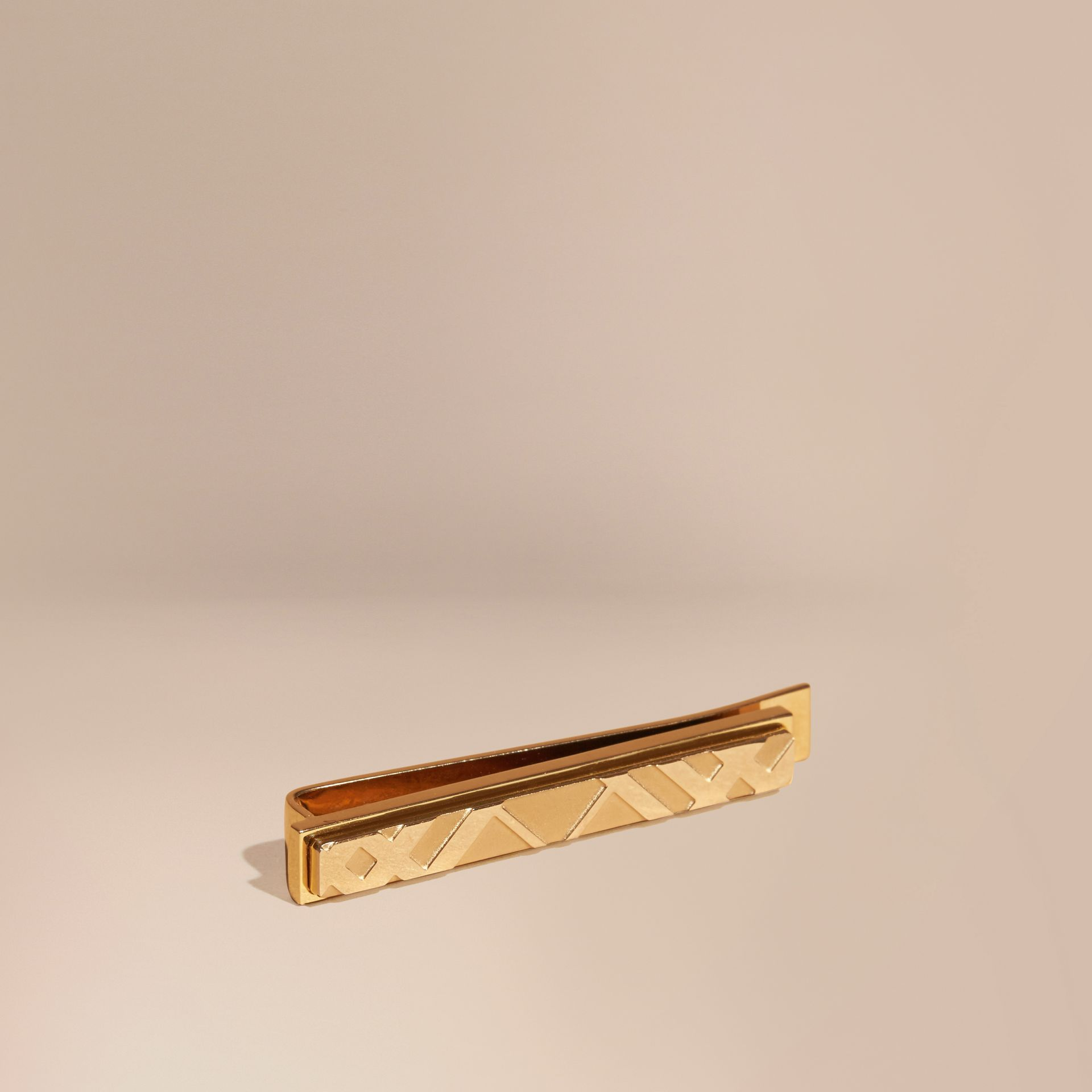 Check-engraved Tie Bar Pale Gold - gallery image 1