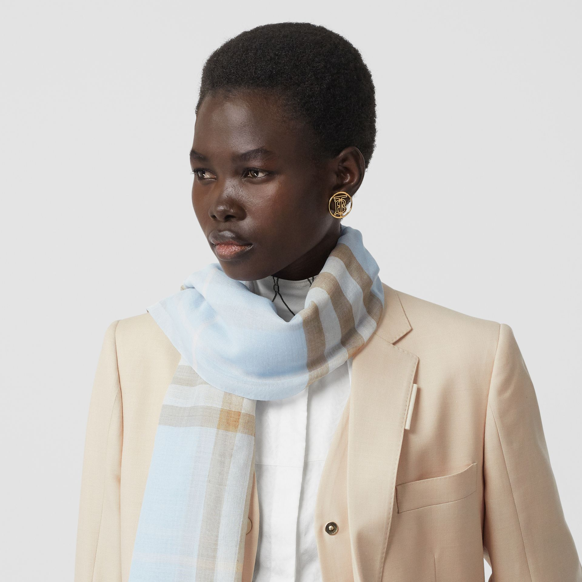 Lightweight Check Wool Silk Scarf in Pale Blue | Burberry Canada - gallery image 2