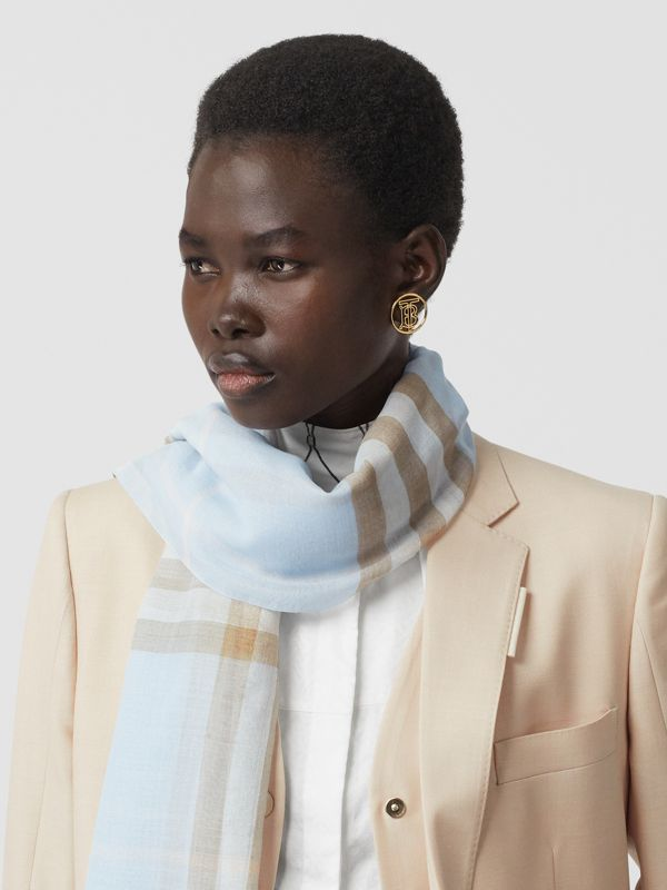 Lightweight Check Wool Silk Scarf in Pale Blue | Burberry - cell image 2