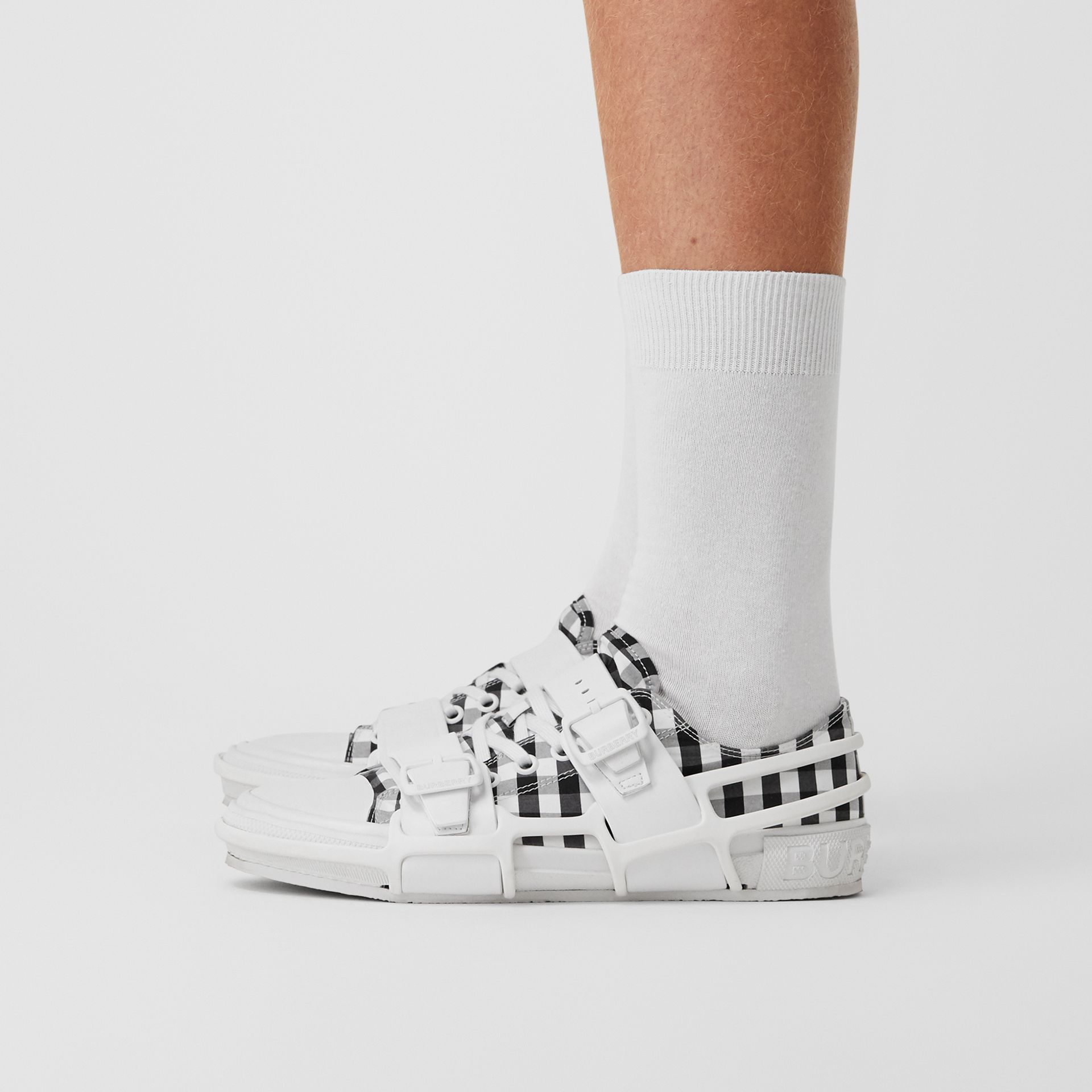 Gingham Cotton and Leather Webb Sneakers in White/black | Burberry United Kingdom - gallery image 4