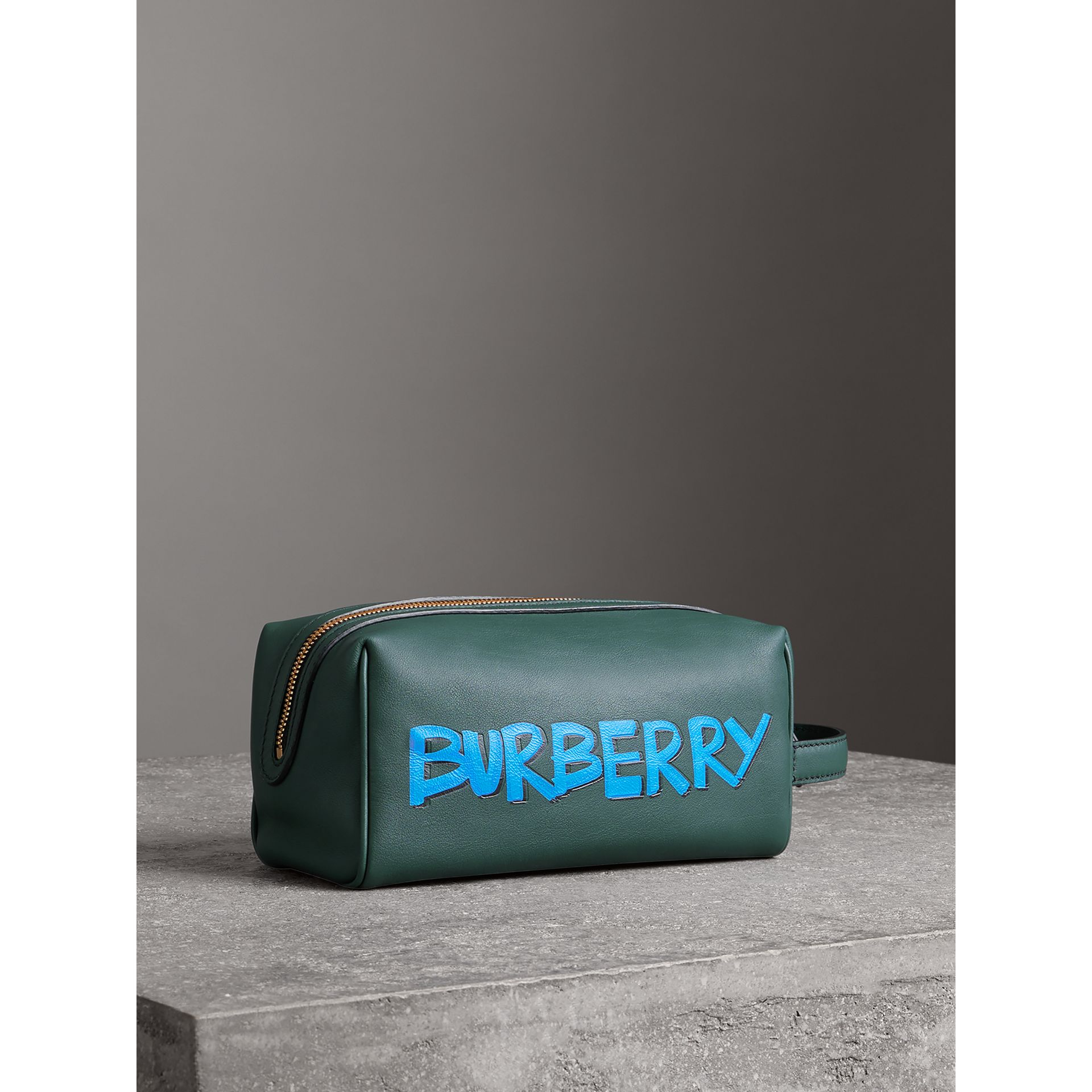 Graffiti Print Leather Pouch in Deep Bottle Green | Burberry United Kingdom - gallery image 6