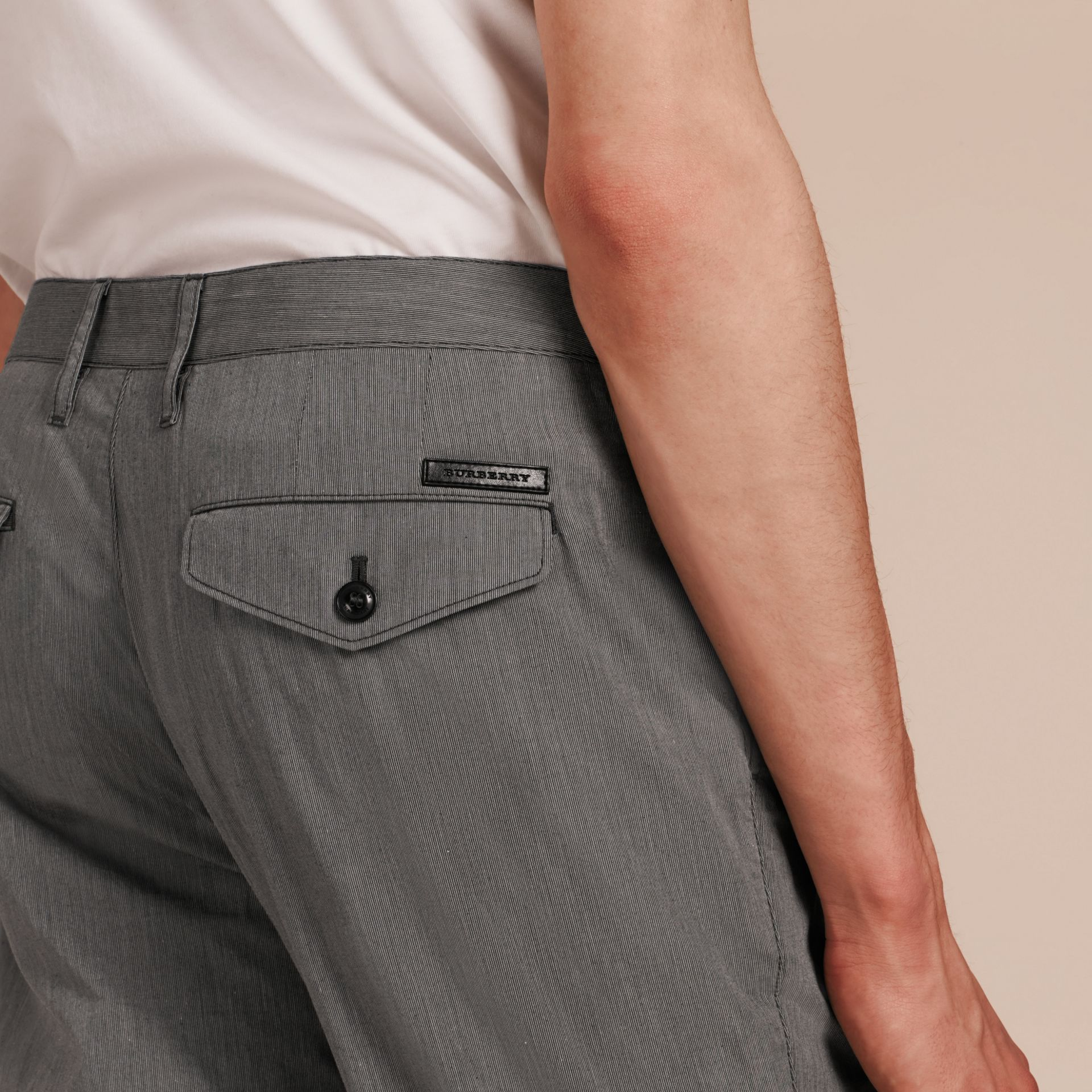 Dark grey Cotton Tapered Trousers - gallery image 5