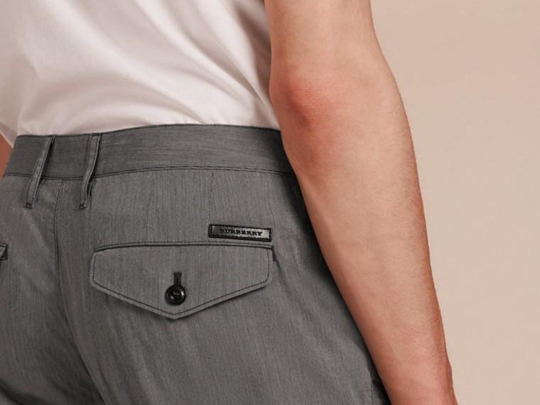 Gris oscuro Pantalones entallados en algodón - cell image 4