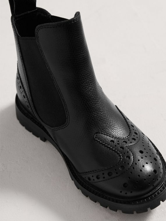 Leather Brogue Chelsea Boots in Charcoal/red | Burberry United Kingdom - cell image 3