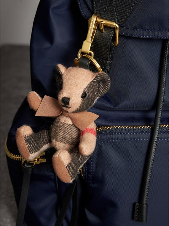 Thomas Bear Charm in Check Cashmere in Camel | Burberry - cell image 2