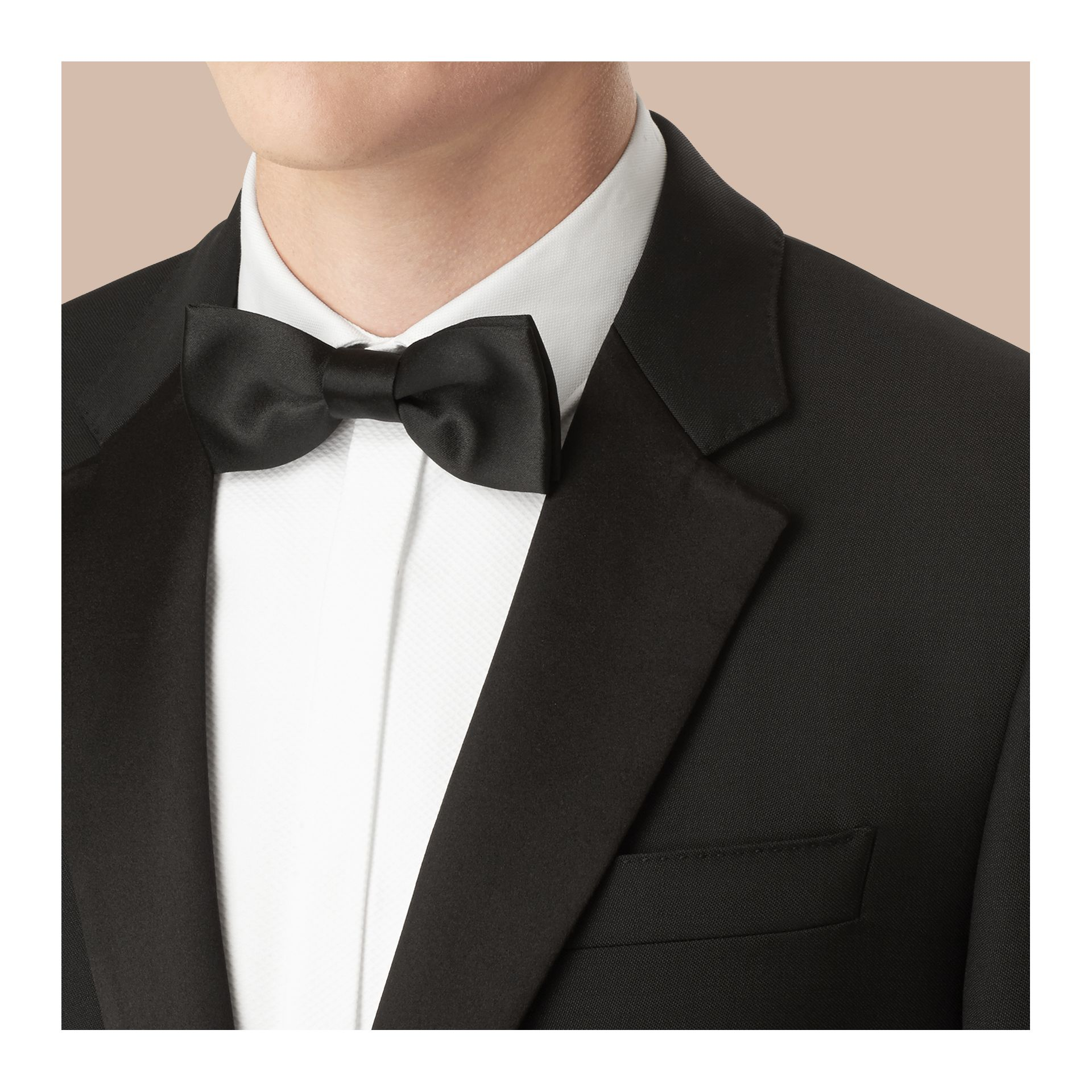 Black Classic Fit Wool Mohair Part-canvas Tuxedo - gallery image 4