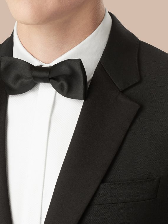 Black Classic Fit Wool Mohair Part-canvas Tuxedo - cell image 3