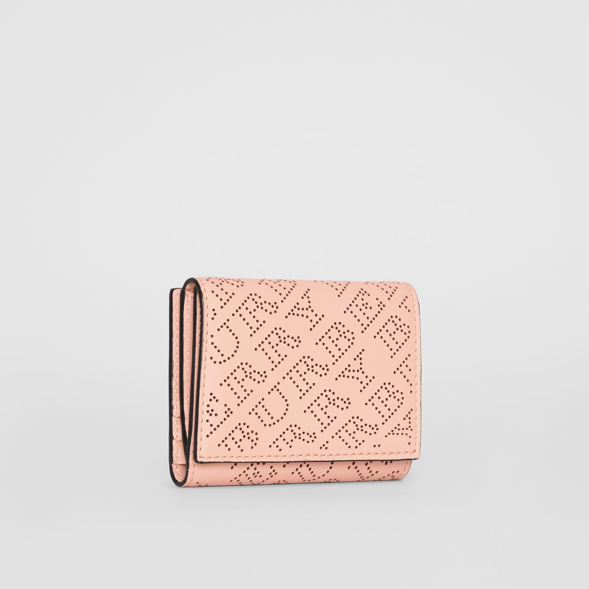 Small Perforated Logo Leather Wallet in Pale Fawn Pink - Women | Burberry - gallery image 4
