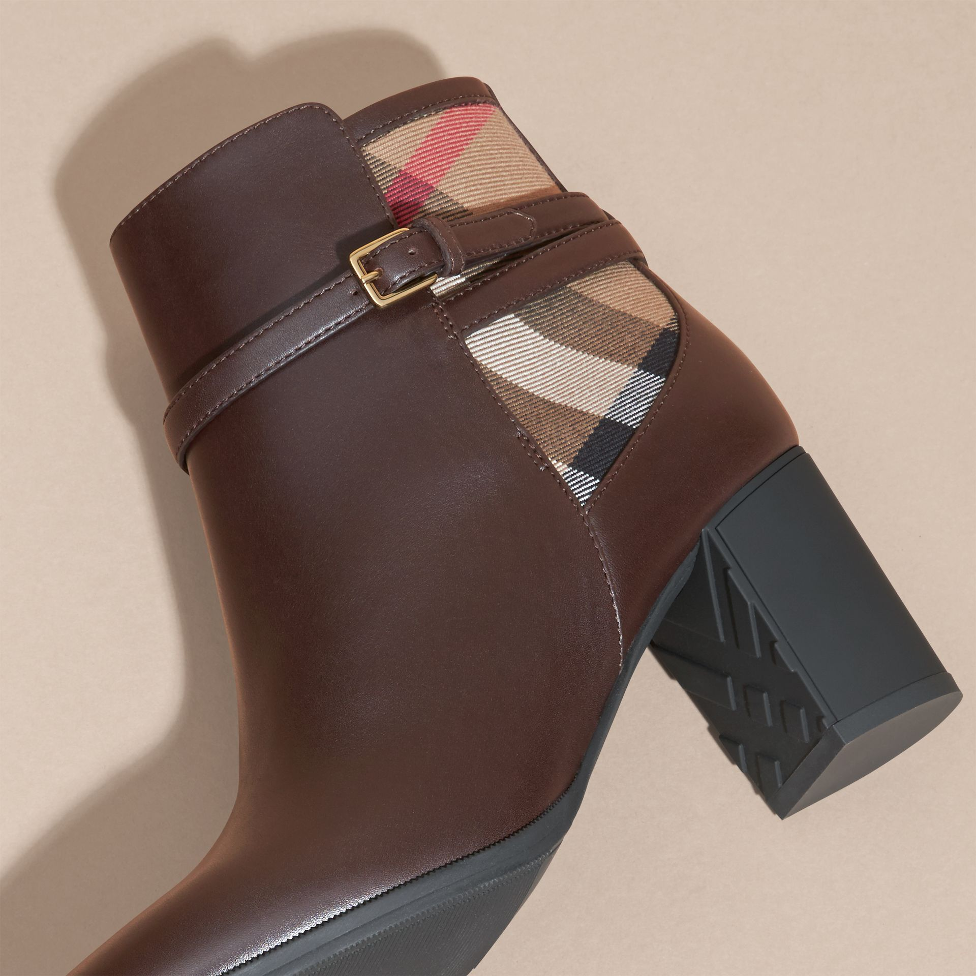 Chestnut House Check and Leather Ankle Boots Chestnut - gallery image 5