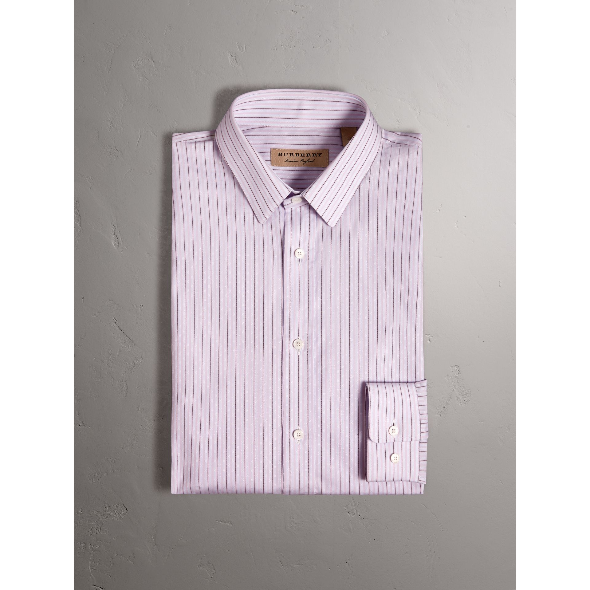 Slim Fit Striped Dobby Cotton Shirt in Pale Lilac - Men | Burberry - gallery image 2