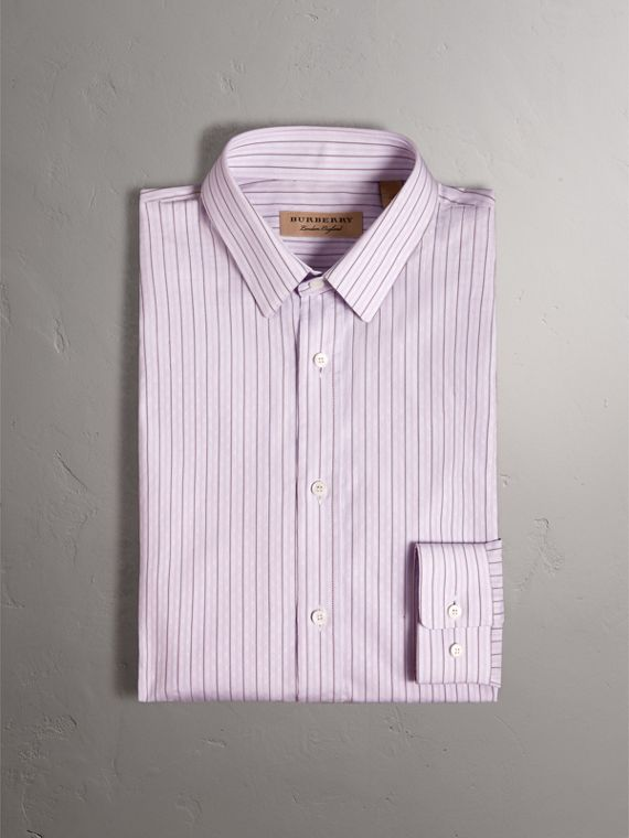 Slim Fit Striped Dobby Cotton Shirt in Pale Lilac