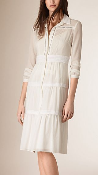 Tiered Cotton Shirt Dress