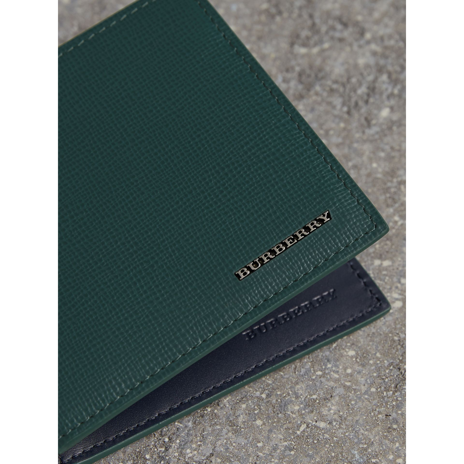 London Leather International Bifold Wallet in Dark Teal | Burberry - gallery image 1