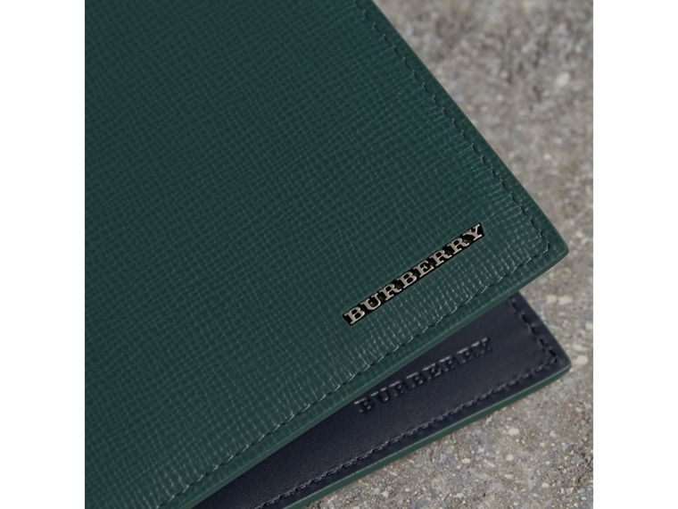 London Leather International Bifold Wallet in Dark Teal | Burberry Singapore - cell image 1