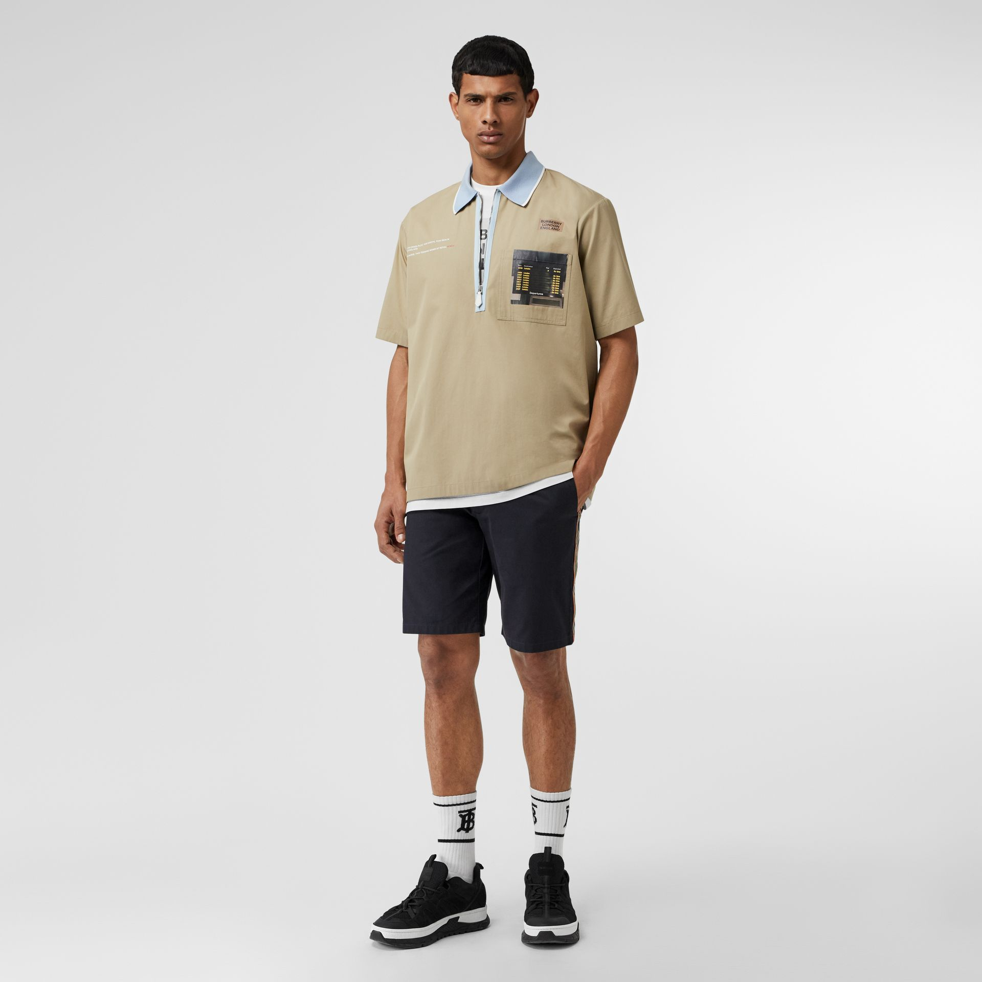 Icon Stripe Detail Cotton Twill Chino Shorts in Navy - Men | Burberry - gallery image 0