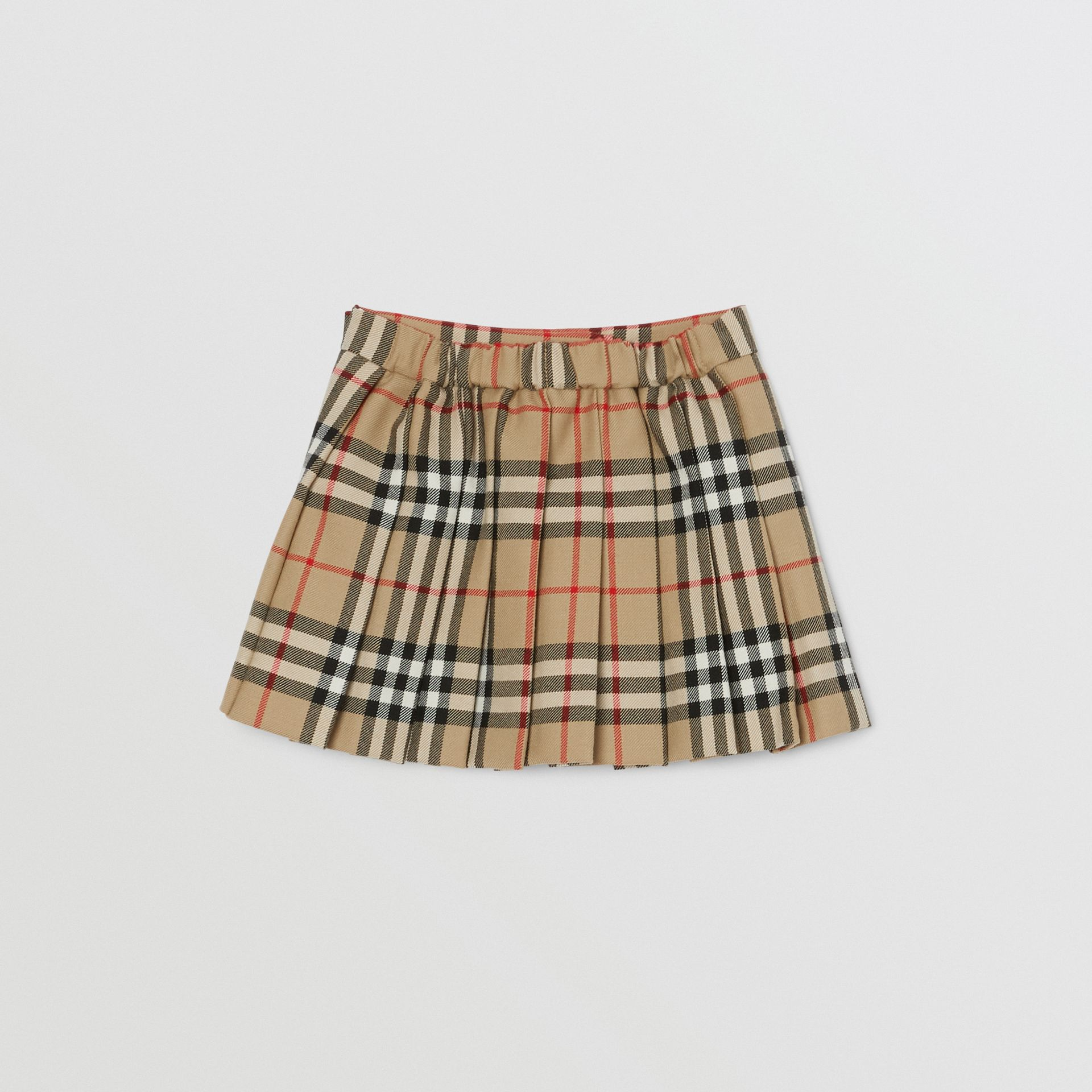 Vintage Check Wool Pleated Wrap Skirt in Archive Beige - Children | Burberry - gallery image 3