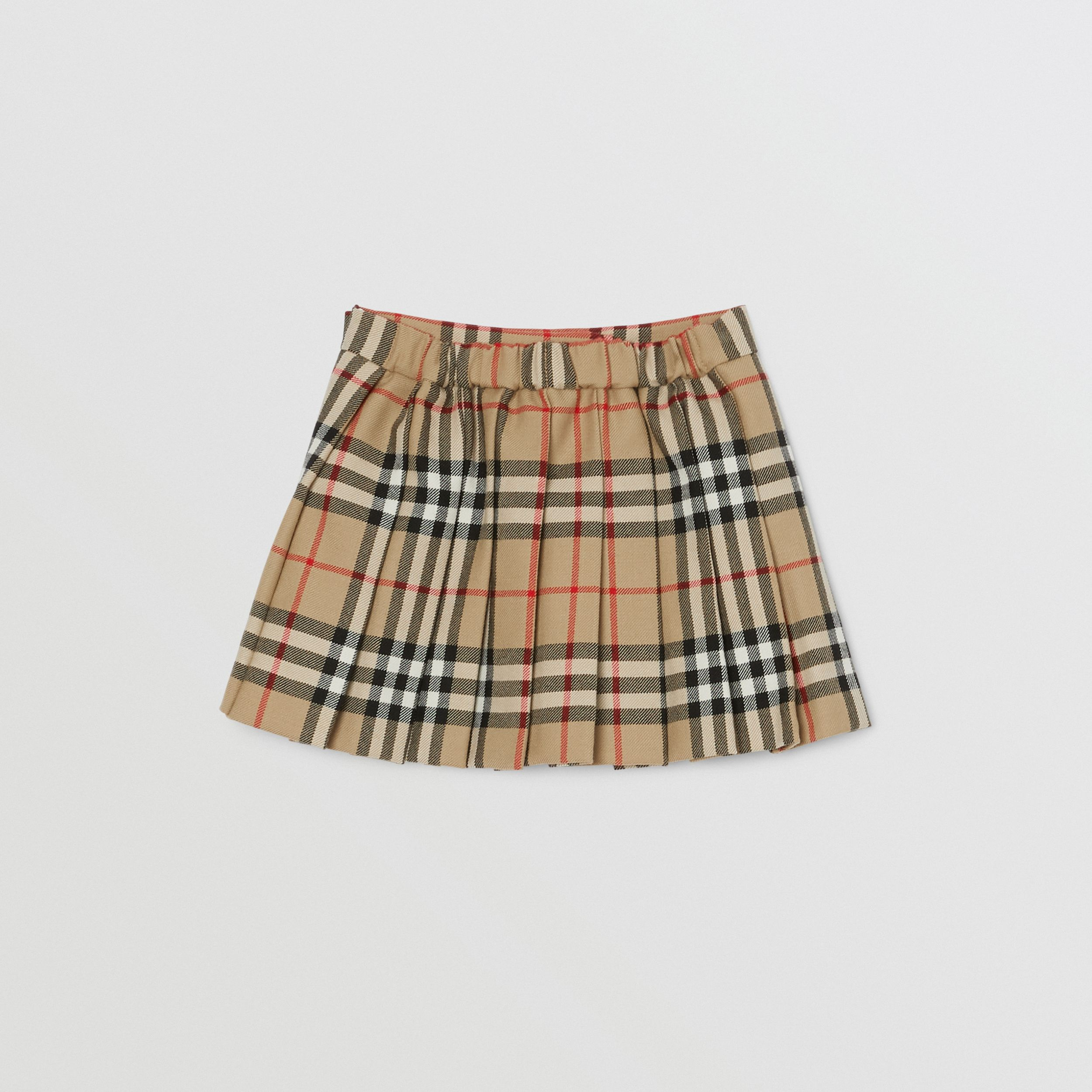 Vintage Check Wool Pleated Wrap Skirt in Archive Beige - Children | Burberry - 4