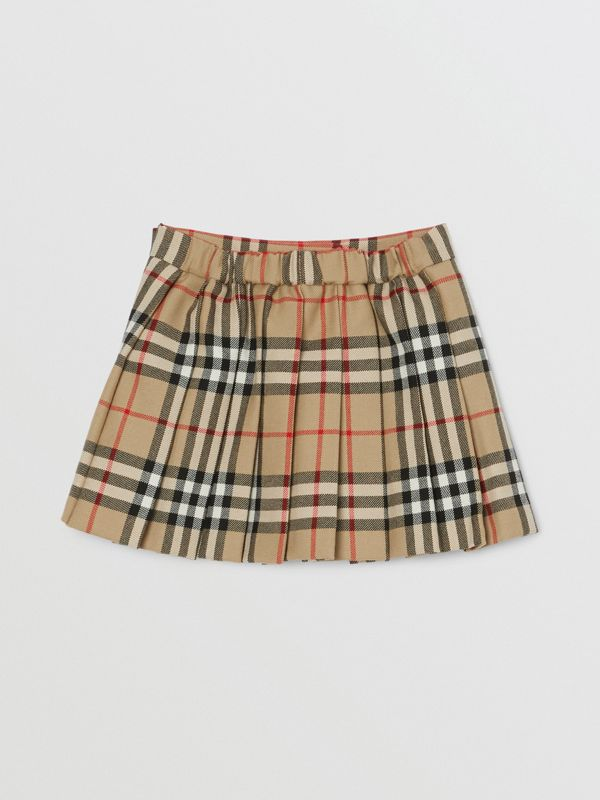 Vintage Check Wool Pleated Wrap Skirt in Archive Beige - Children | Burberry - cell image 3
