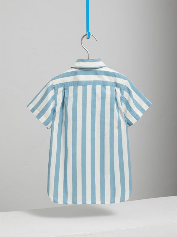 Short-sleeve Striped Cotton Shirt in Pale Opal - Children | Burberry - cell image 3