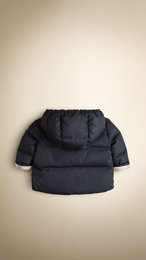 Navy Check-Lined Puffer Jacket - Image 2