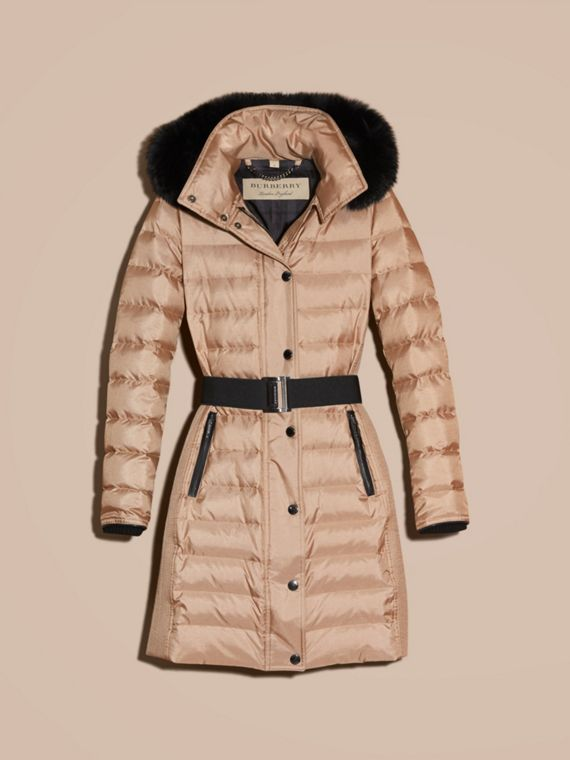 Nude Down-filled Coat with Detachable Fur-trimmed Hood - cell image 3