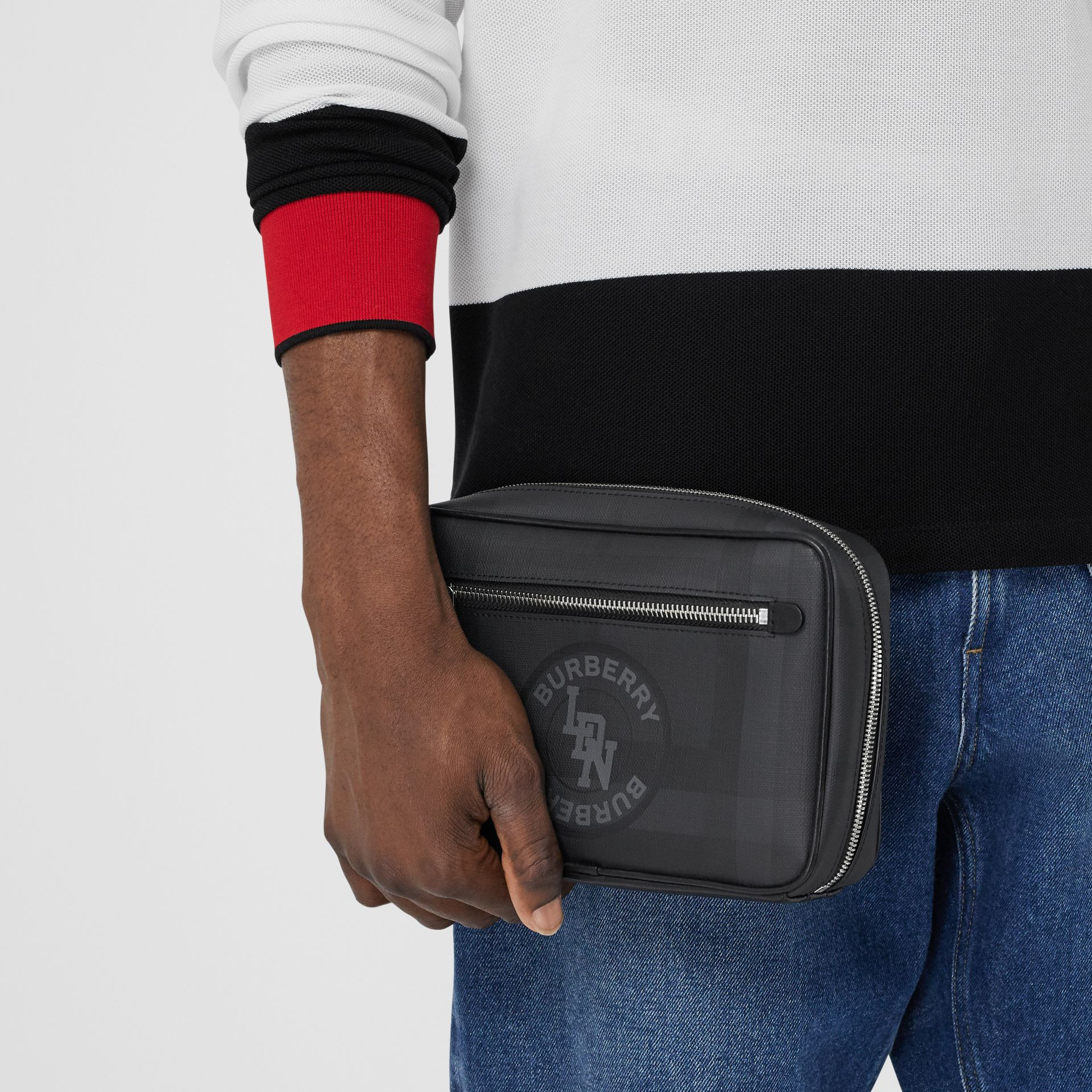 Logo Graphic London Check Crossbody Bag in Dark Charcoal - Men | Burberry - gallery image 2