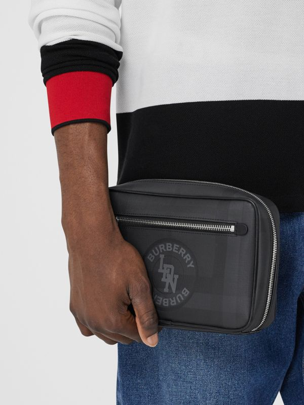 Logo Graphic London Check Crossbody Bag in Dark Charcoal - Men | Burberry - cell image 2