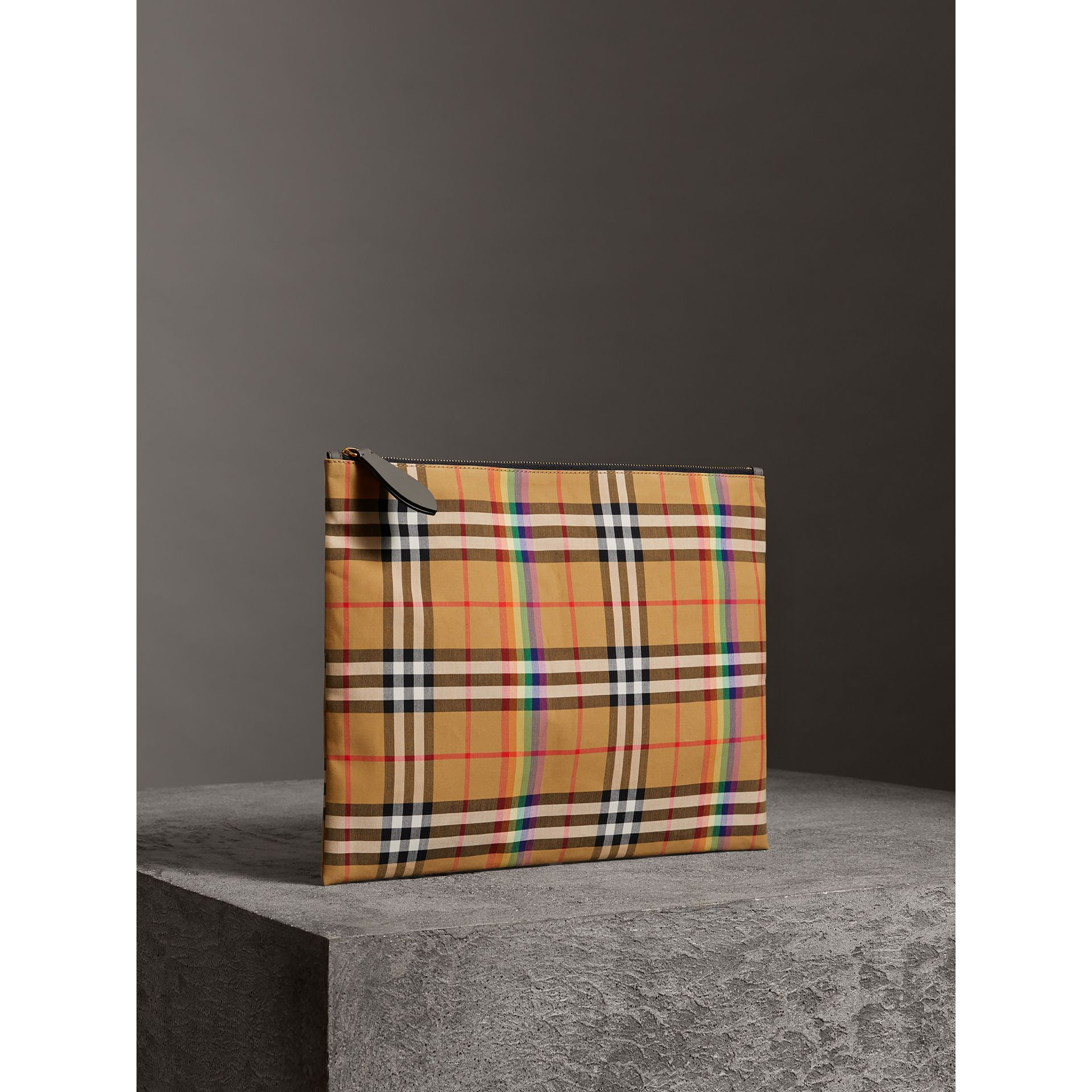 Large Rainbow Vintage Check Pouch in Dark Grey | Burberry - gallery image 8