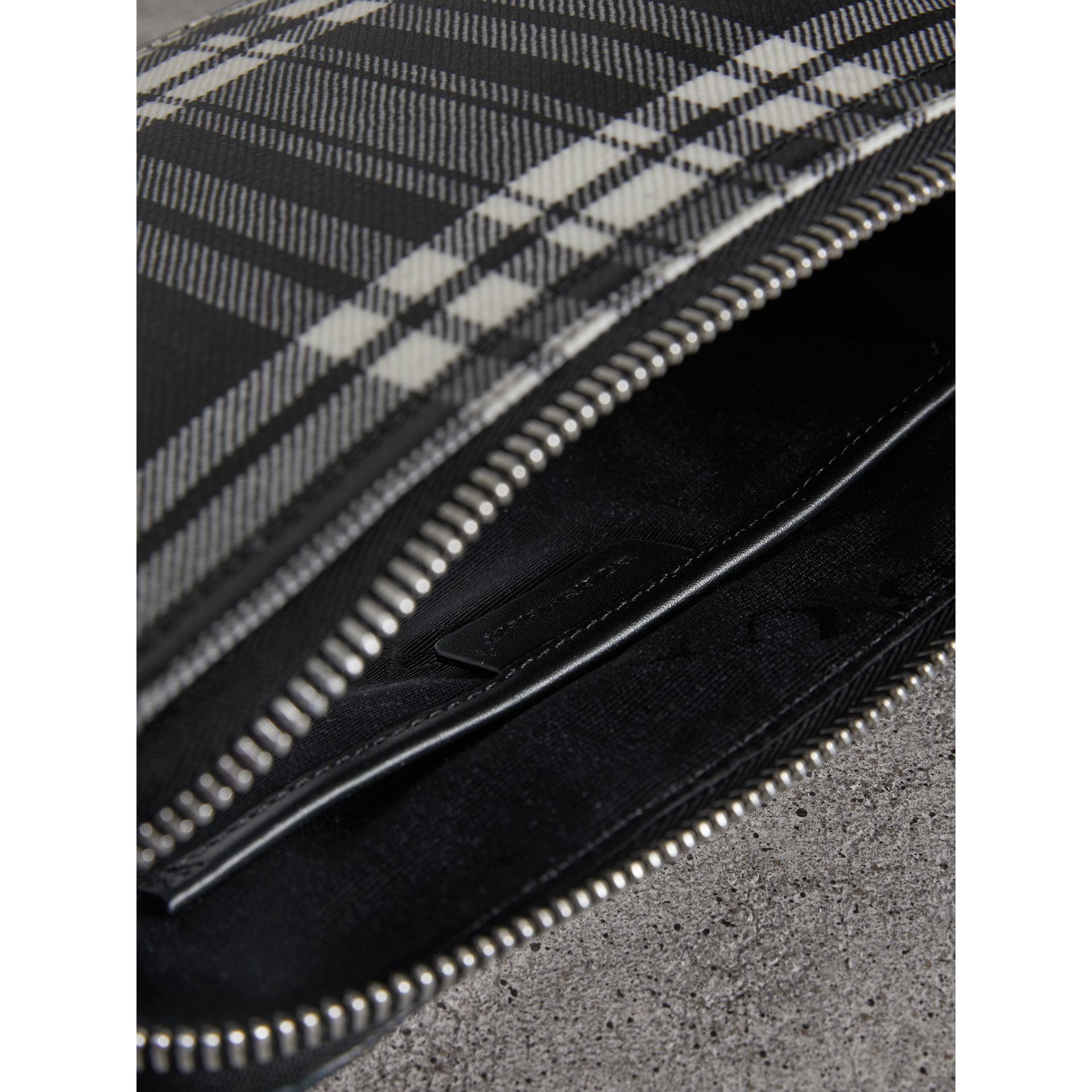 Large Laminated Tartan and Check Wool Blend Pouch in Black/white - Women | Burberry - gallery image 3