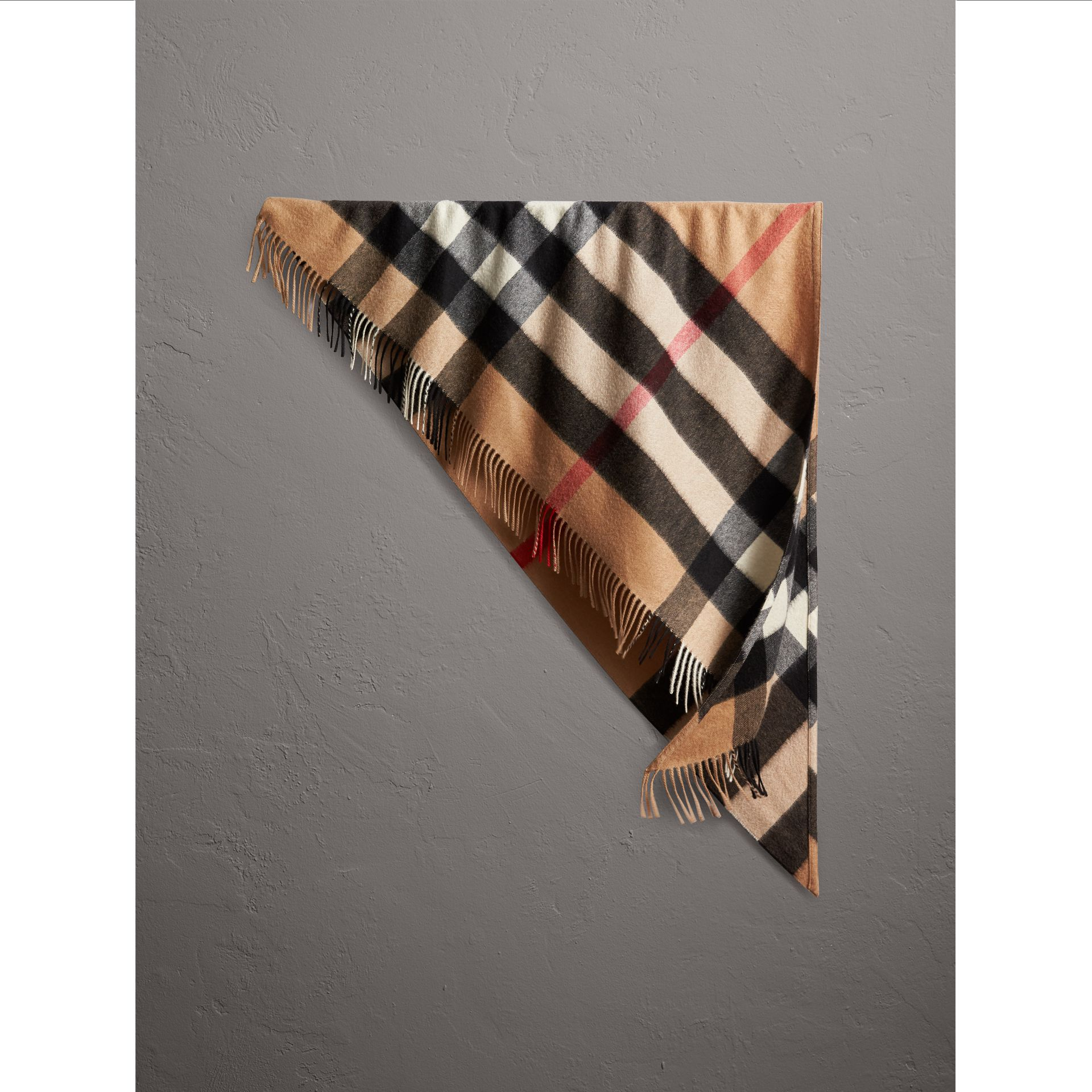 The Burberry Bandana in Check Cashmere in Camel | Burberry Canada - gallery image 1