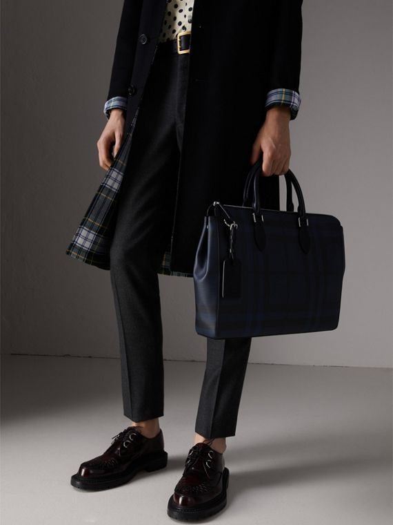 Large London Check Briefcase in Navy/black - Men | Burberry Australia - cell image 3