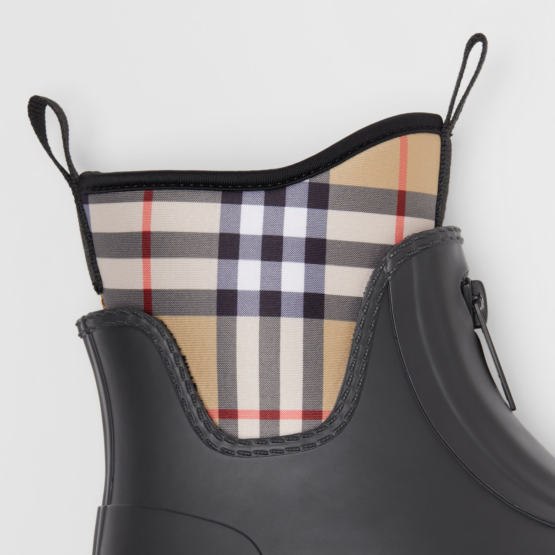 Vintage Check Neoprene and Rubber Rain Boots in Black - Women | Burberry Australia - gallery image 1