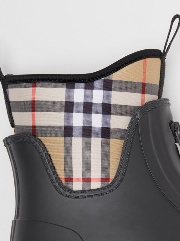 Vintage Check Neoprene and Rubber Rain Boots in Black - Women | Burberry - cell image 1