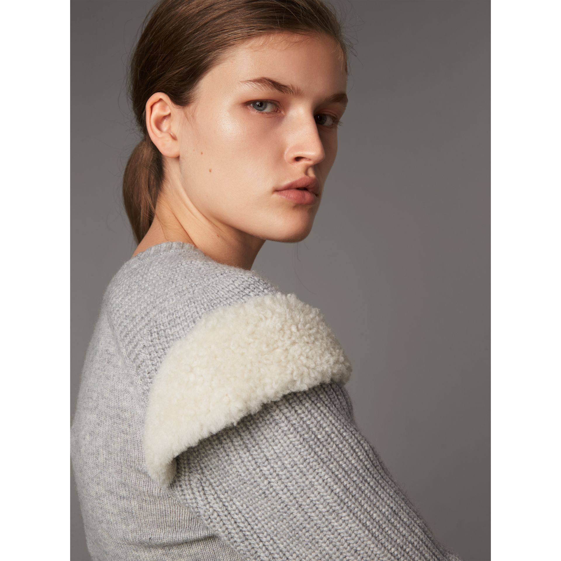 Shearling Trim Ribbed Wool Cashmere Sweater in Pale Grey Melange - Women | Burberry - gallery image 2