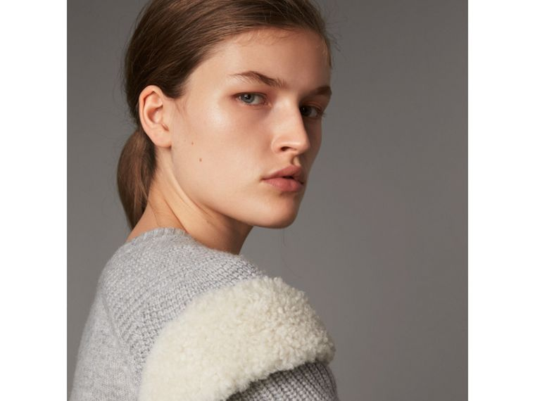 Shearling Trim Ribbed Wool Cashmere Sweater in Pale Grey Melange - Women | Burberry - cell image 1