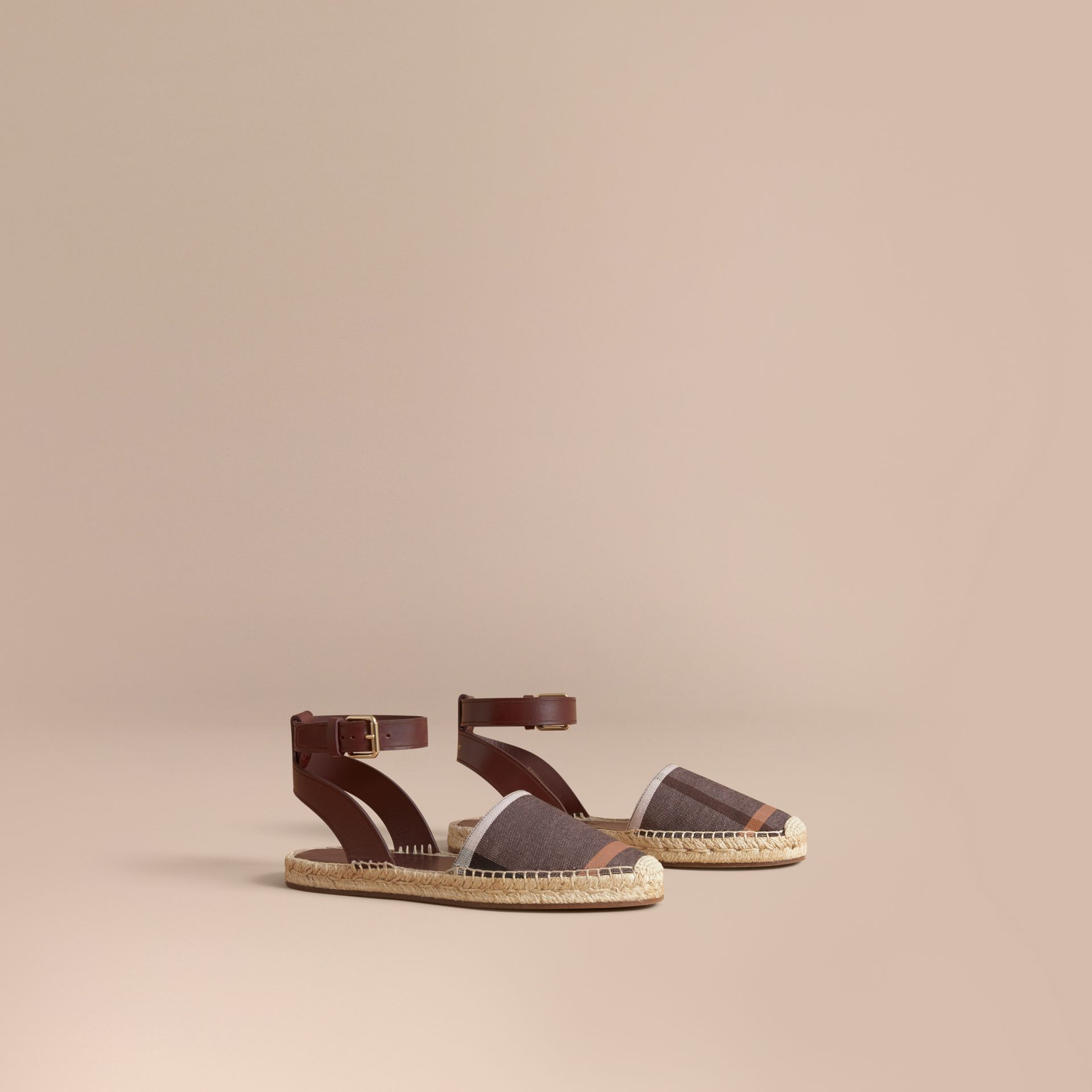 Leather and Check Linen Cotton Espadrille Sandals in Cerise Purple - Women | Burberry - gallery image 1