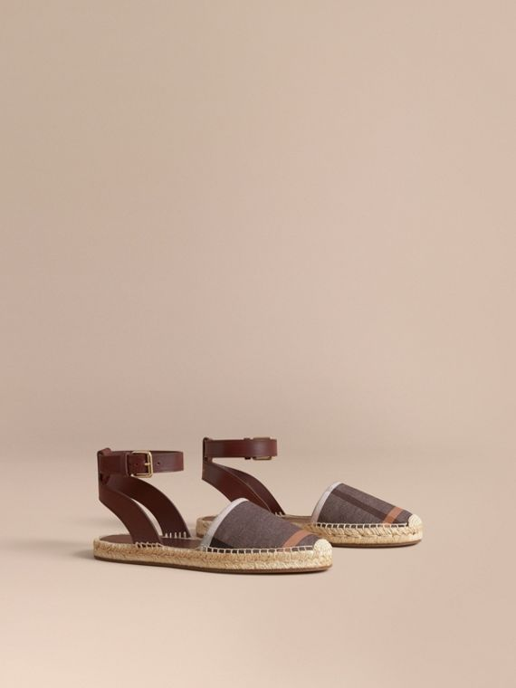 Leather and Check Linen Cotton Espadrille Sandals in Cerise Purple