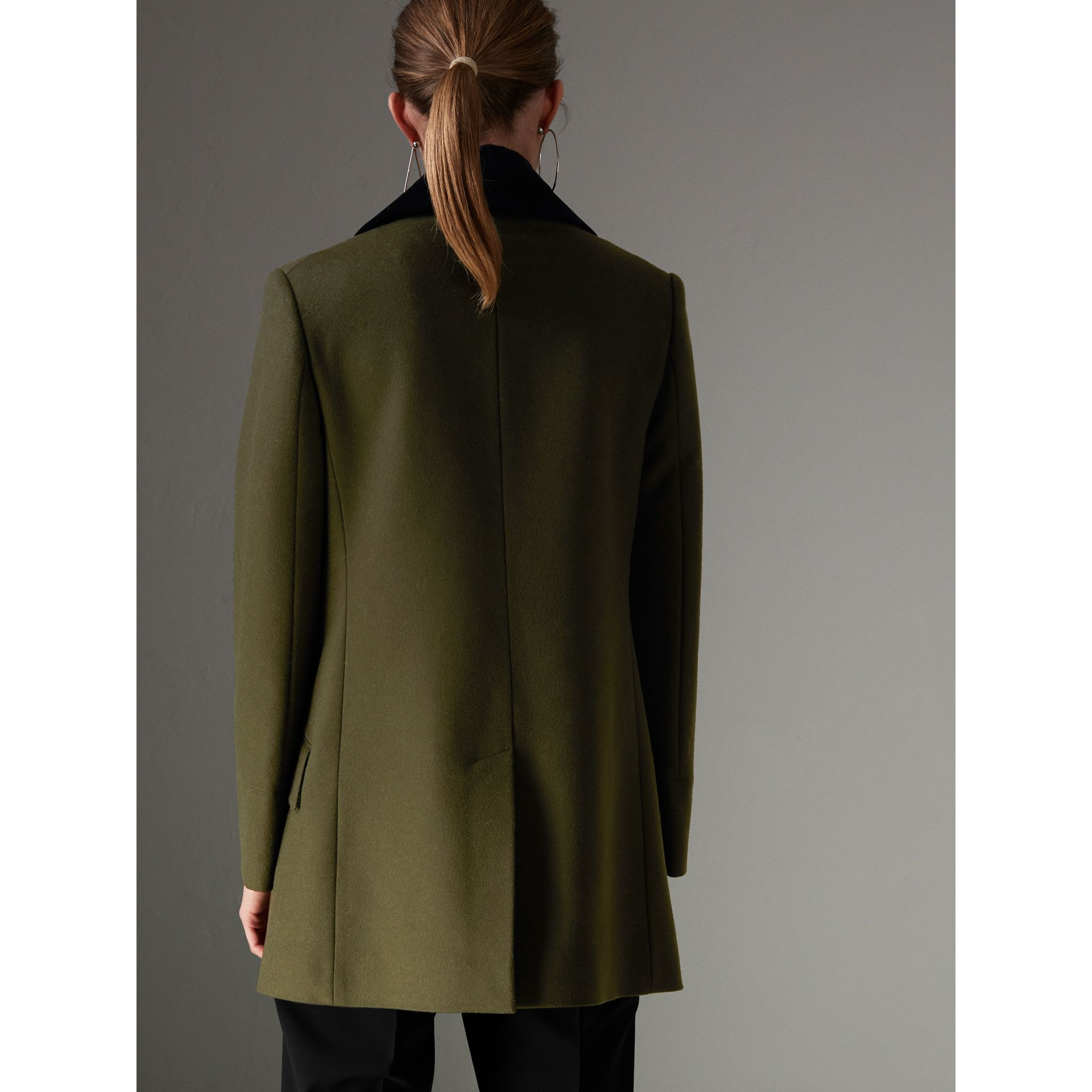 Velvet Collar Wool Military Coat in Olive - Women | Burberry - gallery image 2